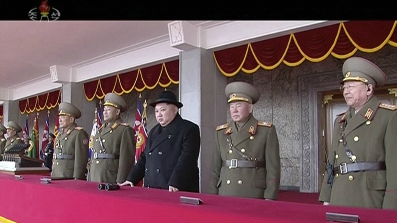 In this image made from video released by KRT on Feb. 8, 2018, North Korean leader Kim Jong Un, center, watches the military parade in Pyongyang, Thursday, Feb. 8 2018. North Korea held a military parade and rally on Kim Il Sung Square on Thursday, just one day before South Korea holds the opening ceremony for the Pyeongchang Winter Olympics. (AP/PTI)