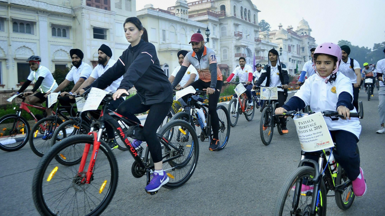 People participate in the Heritage Cycle Ride part of Patiala Heritage Festival on the second day at Netaji Subhash National Institute of Sports (NS NIS) in Patiala, on Thursday. (PTI)