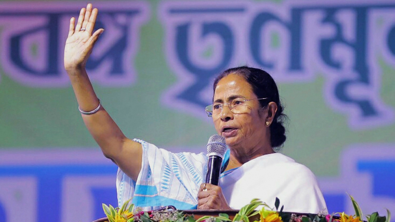 West Bengal Chief Minister and Trinamool Congress supremo Mamata Banerjee addresses during Youth Trinamool Congress rally at Damurjala Stadium in Howrah district of West Bengal on Friday. (PTI)