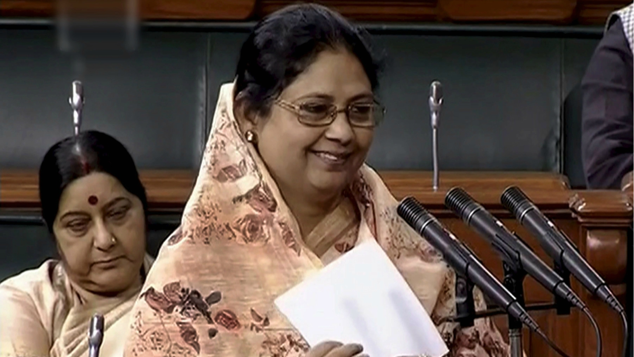 Newly elected Trinamool Congress MP Sajda Ahmed takes oath as a member of the Lok Sabha, in New Delhi on Monday. (PTI)