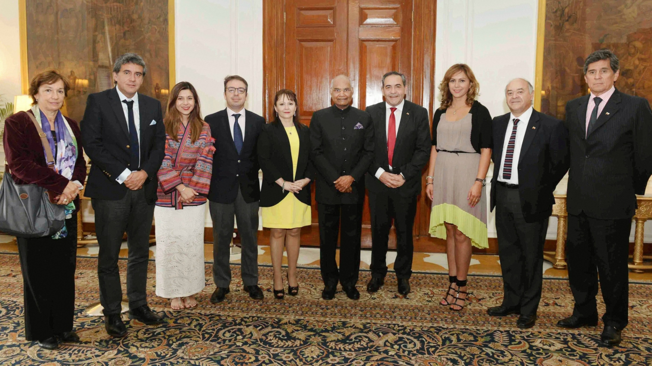 President Ram Nath Kovind meets the Chilean delegation led by Fidel Espinoza, President of the Chamber of Deputies of National Congress of Chile at Rashtrapati Bhavan in New Delhi. (PTI)