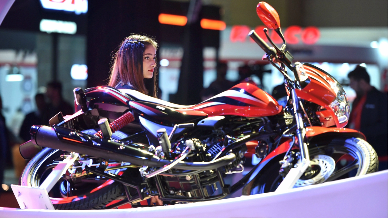 A TVS Motors bike is showcased at the Auto Expo 2018 in Greater Noida on Wednesday. (PTI)