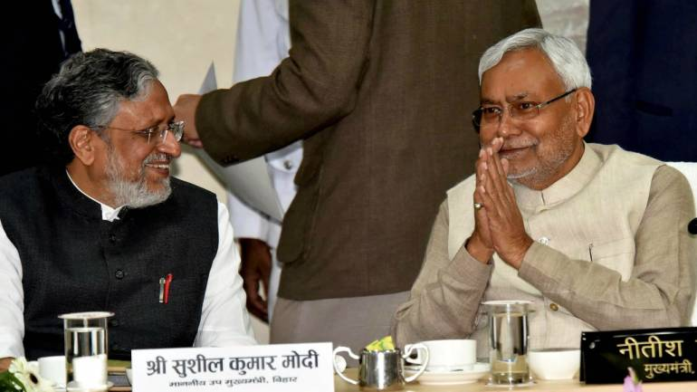 Bihar Chief Minister Nitish Kumar along with deputy Chief Minister Sushil Kumar Modi during a review meeting of Patna district at CM Secretariat, in Patna on Friday. (PTI)