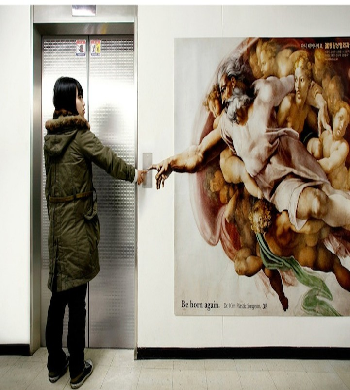 Answer: Plastic Surgery. With the tagline 'Be Born Again', the ad puts the potential customer in the place of Adam (being created) as a reference to Michelangelo's Creation of Adam.