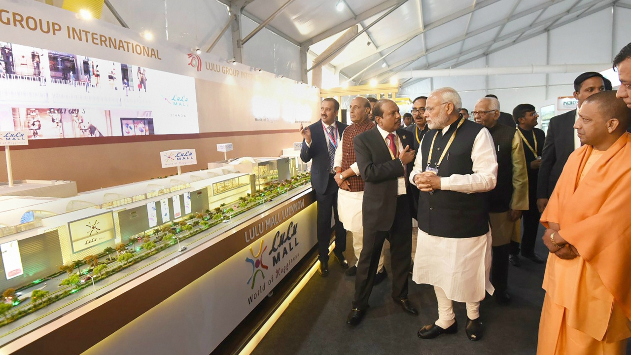 Prime Minister Narendra Modi after the inauguration of the Investors Summit 2018 in Lucknow on Wednesday.Chief Minister of Uttar Pradesh Yogi Adityanath and Uttar Pradesh Governor Ram Naik are also seen. (PTI)