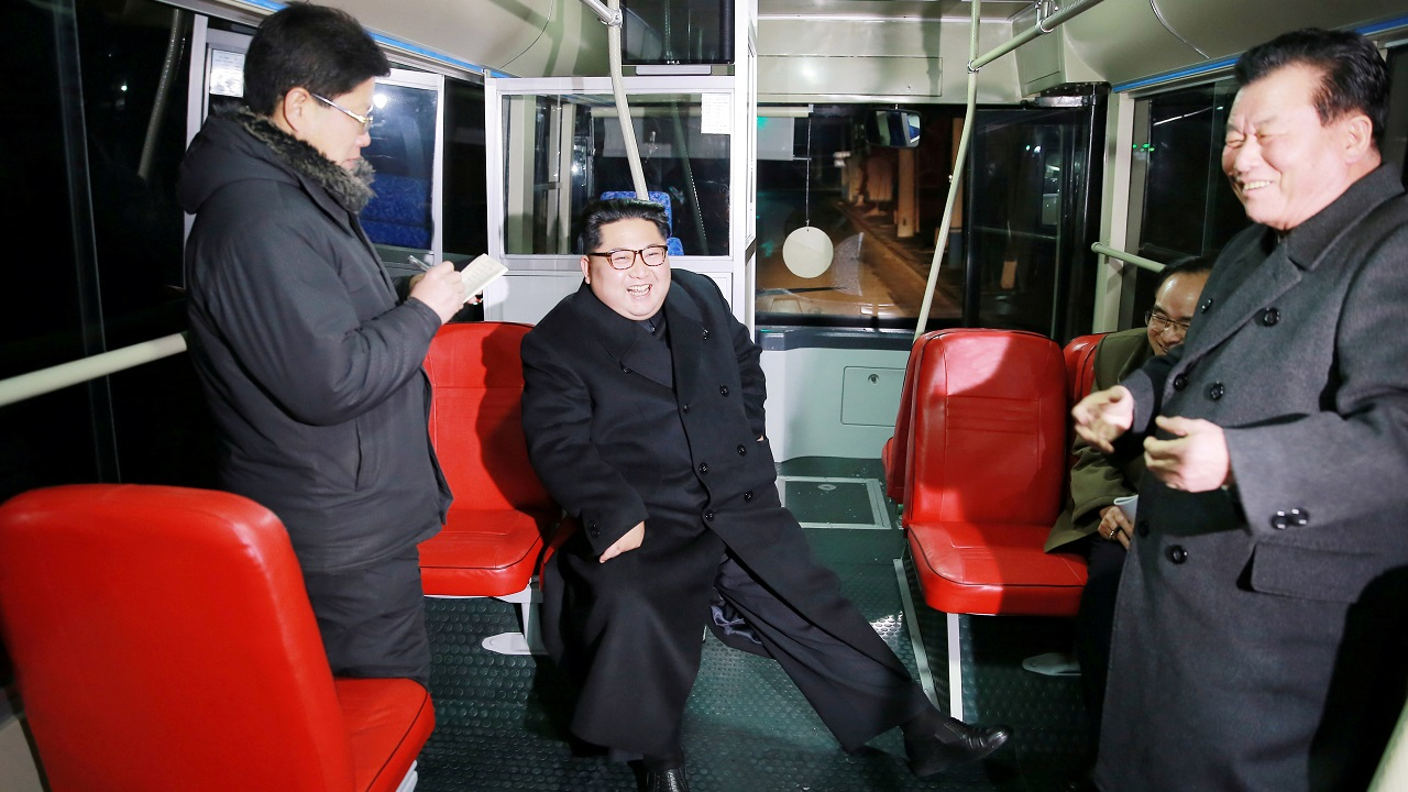 North Korean leader Kim Jong-Un attends the trial of a trackless tramway in Pyongyang. (KCNA/Reuters)