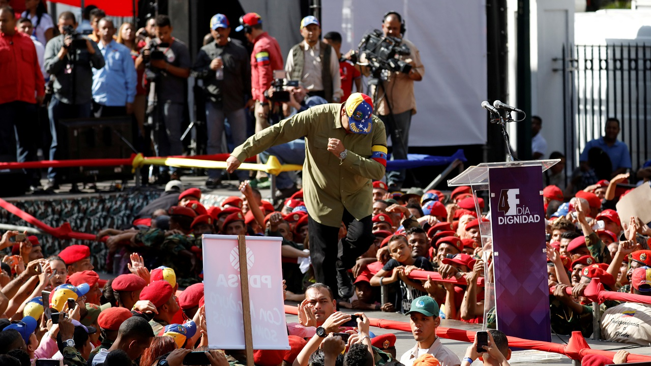 Venezuela's President Nicolas Maduro dances during a rally to commemorate the 26th anniversary of late Venezuelan President Hugo Chavez failed coup attempt in Caracas. (Reuters)