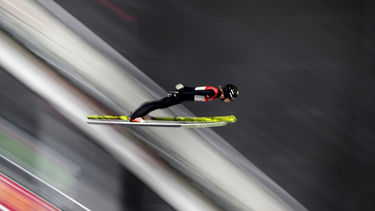 Maren Lundby of Norway competes in the Women's Normal Hill Individual Trial round at the Alpensia Ski Jumping Centre as part of the 2018 Pyeongchang Winter Olympic Games in South Korea. (Reuters)