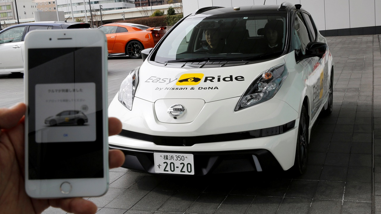 The public field tests of its 'Easy Ride' service in Yokohama next month, making Nissan among the first major carmakers to test its ride-hailing software developed in-house, using its own Leaf fleet of self-driving electric cars. (Image: Reuters)