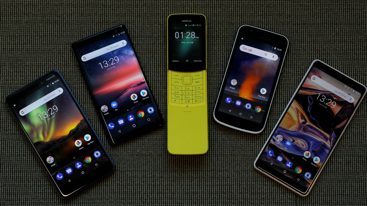 The New Nokia 6, Nokia 8 Sirocco, Nokia 8110, Nokia 1 and the Nokia 7 Plus are seen at a pre-launch event in London, Britain. The smartphones come with the latest Android Oreo OS and come across a range of features for their targeted price bands, Nokia 1 being the most affordable and Nokia 8 being the most powerful. (REUTERS)