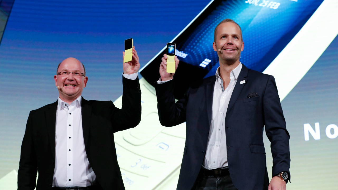 HMD Global Chief Executive Officer Florian Seiche and Product Officer Juho Sarvikas present the new Nokia 8110 during the Mobile World Congress in Barcelona, Spain. The phone goes back to its origins with 2 megapixel rear camera. (REUTERS)
