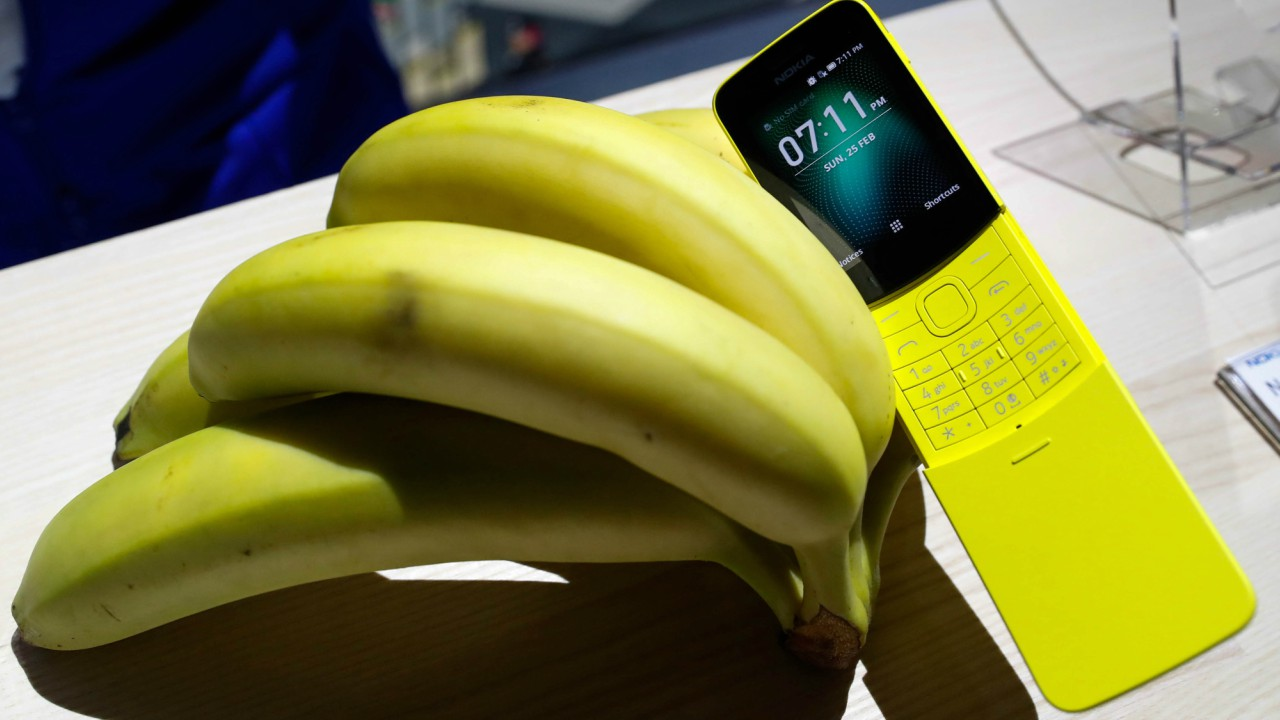 The new Nokia 8110 is displayed during the Mobile World Congress in Barcelona, Spain. It comes with 4G connectivity and a 2.4-inch QVGA display (REUTERS)