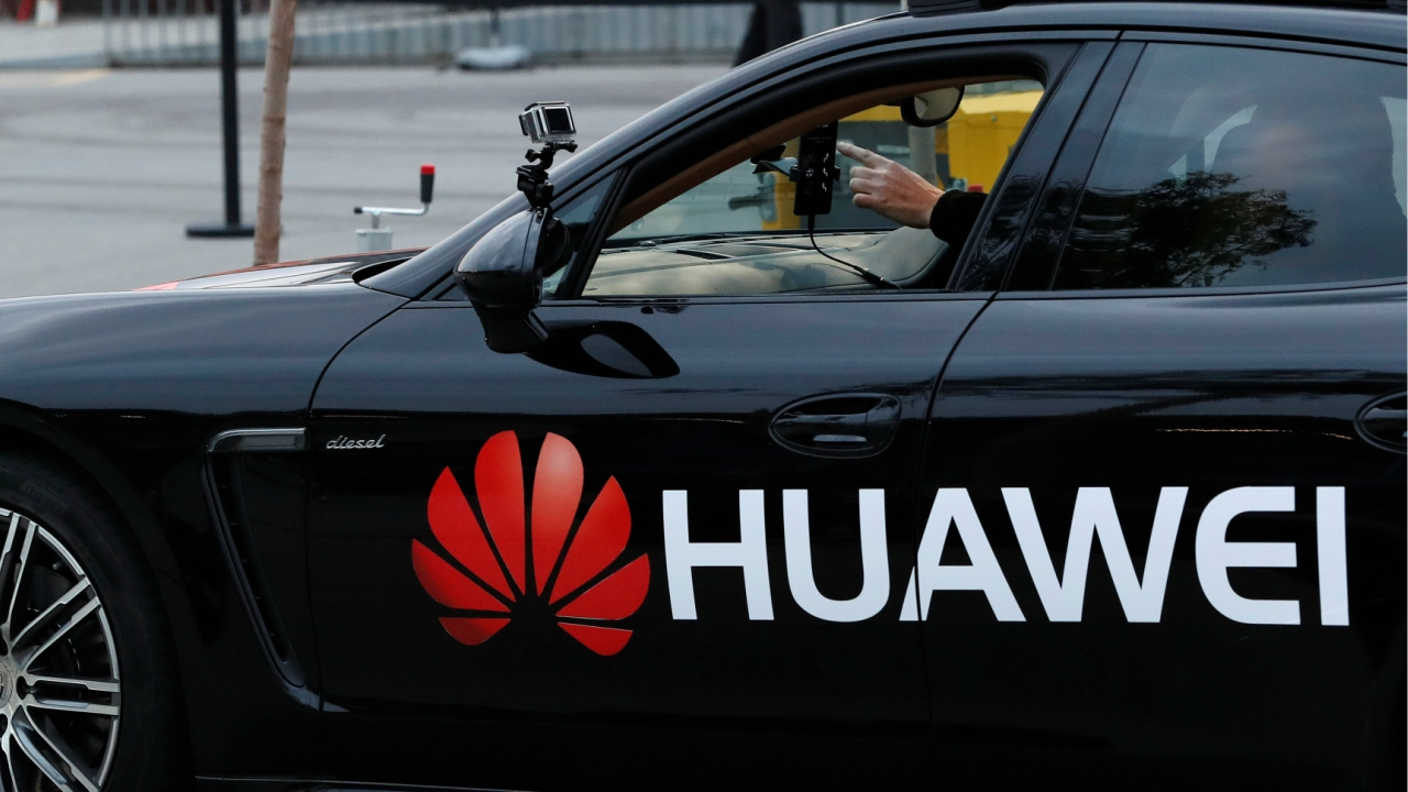 A driverless car controlled by a Huawei Mate 10 Pro mobile is pictured during the Mobile World Congress in Barcelona, Spain. (REUTERS)
