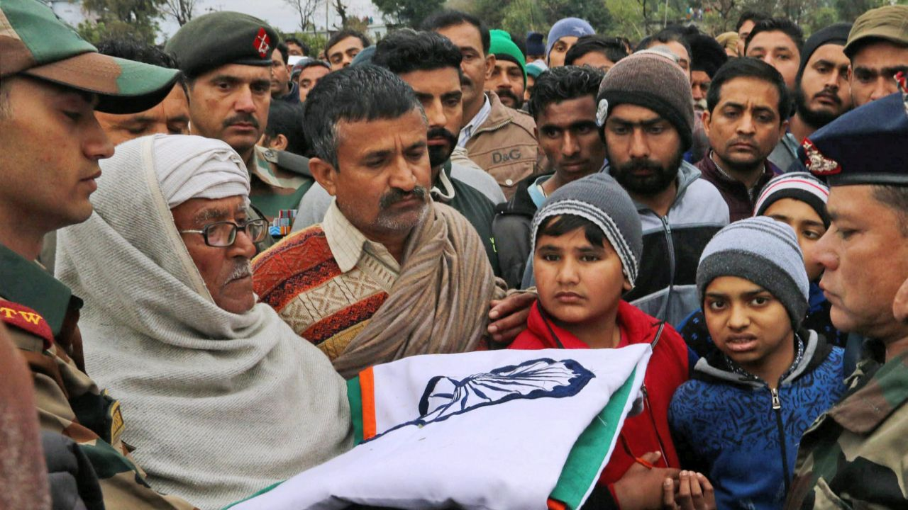 Father of Indian Army JCO Madan Lal Choudhary, who was killed in a terrorist attack at Sunjuwan Army camp. (PTI)