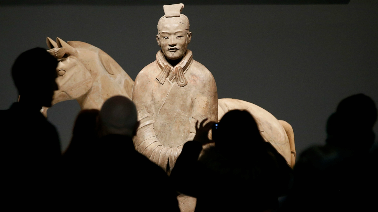 A Terracotta Warrior which guarded the tomb of China's First Emperor, Qin Shi Huang, on loan from China is displayed in The World Museum, Liverpool, Britain. (Reuters)