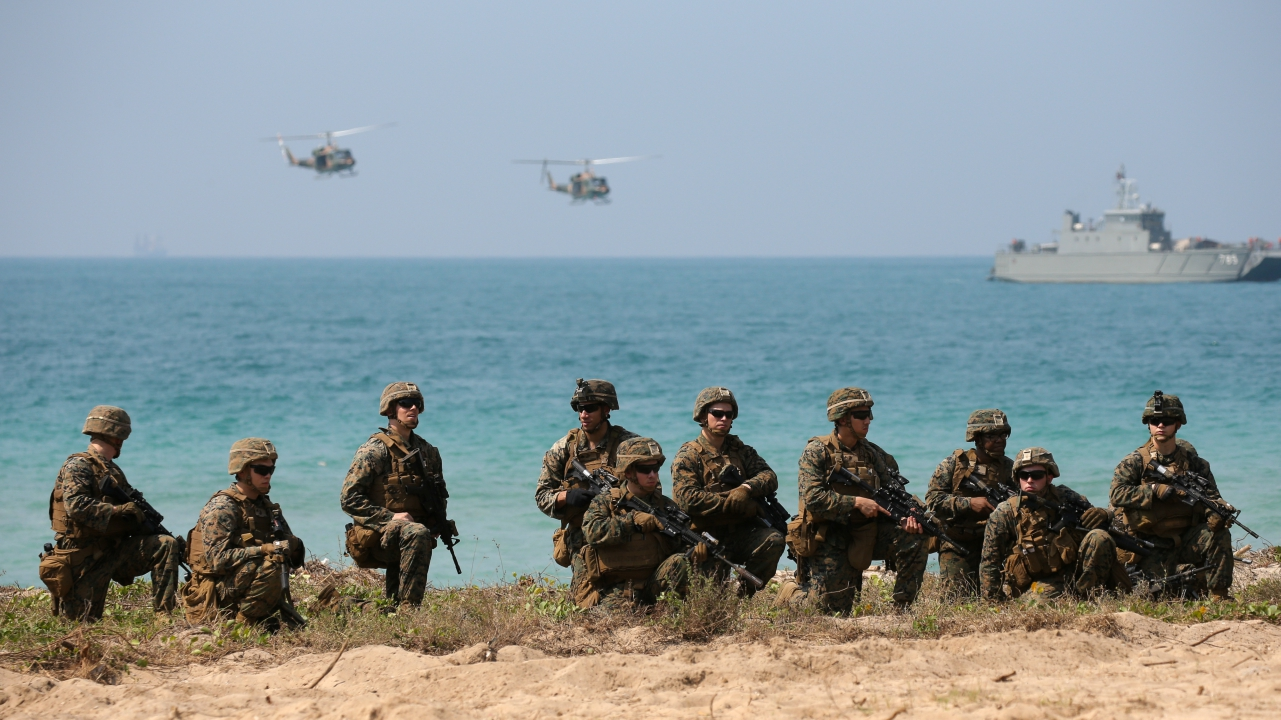 "U.S. Marines participate in an amphibious assault exercise as part of the ""Cobra Gold 2018"" (CG18) joint military exercise at a military base in Chonburi province, Thailand. (Reuters)"