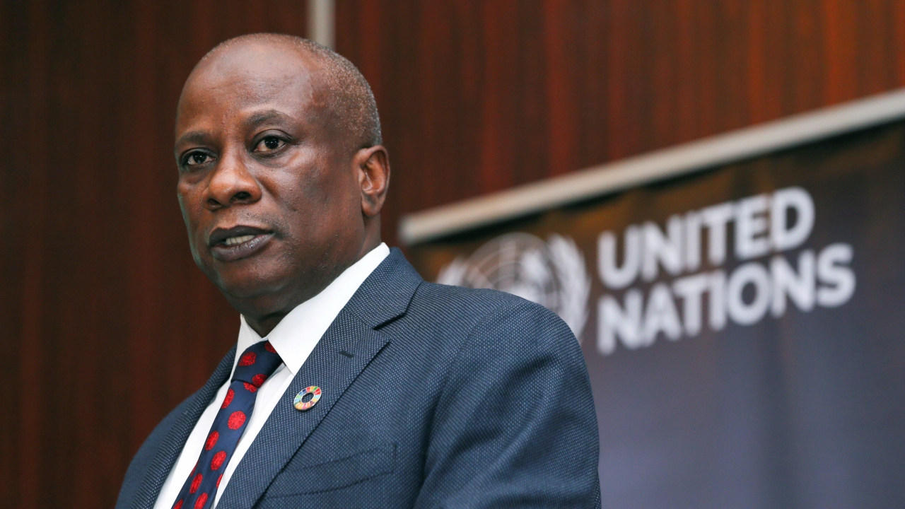 UN Humanitarian Coordinator in Nigeria Edward Kallon speaks during the launch of the 2018 Humanitarian Response Plan (HRP) for north-east Nigeria in Abuja, Nigeria February 8, 2018. (Reuters)