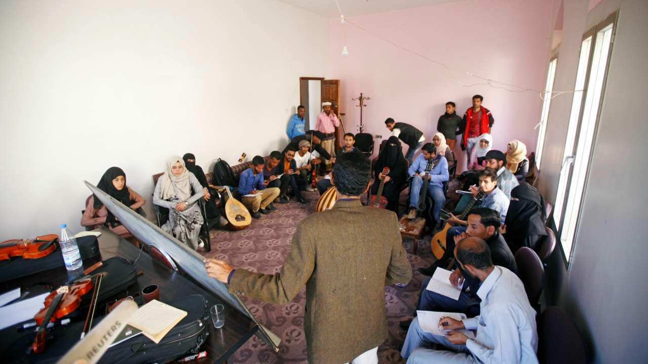 Yemeni Students are seen during a music class at the Cultural Center in Sanaa, Yemen. (Reuters)