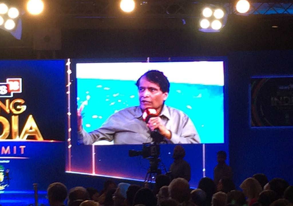 Minister of Commerce and Industry Suresh Prabhu is seen at the panel discussion during the Rising India Summit. (Image: News18)