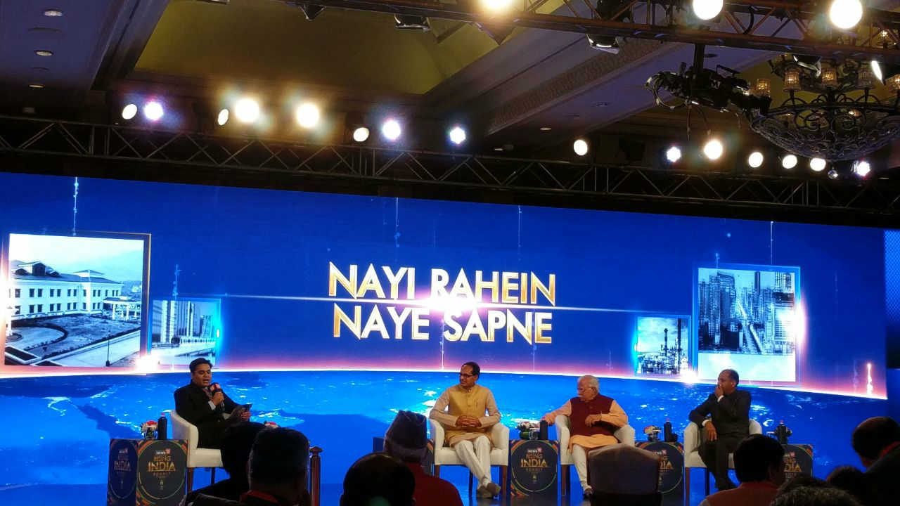 "A view of the panel discussion during ""Nayi Rahein Naye Sapne"" (New Ways New Dreams) session during the Rising India Summit, in New Delhi, on Friday. (Image: News18)"
