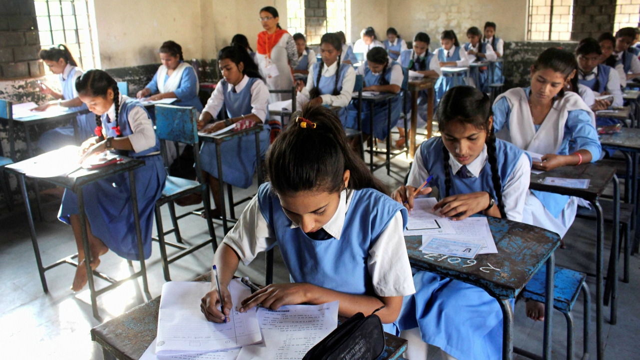 Class 12th students write their exam of Madhya Pradesh state board in Bhopal. (PTI)