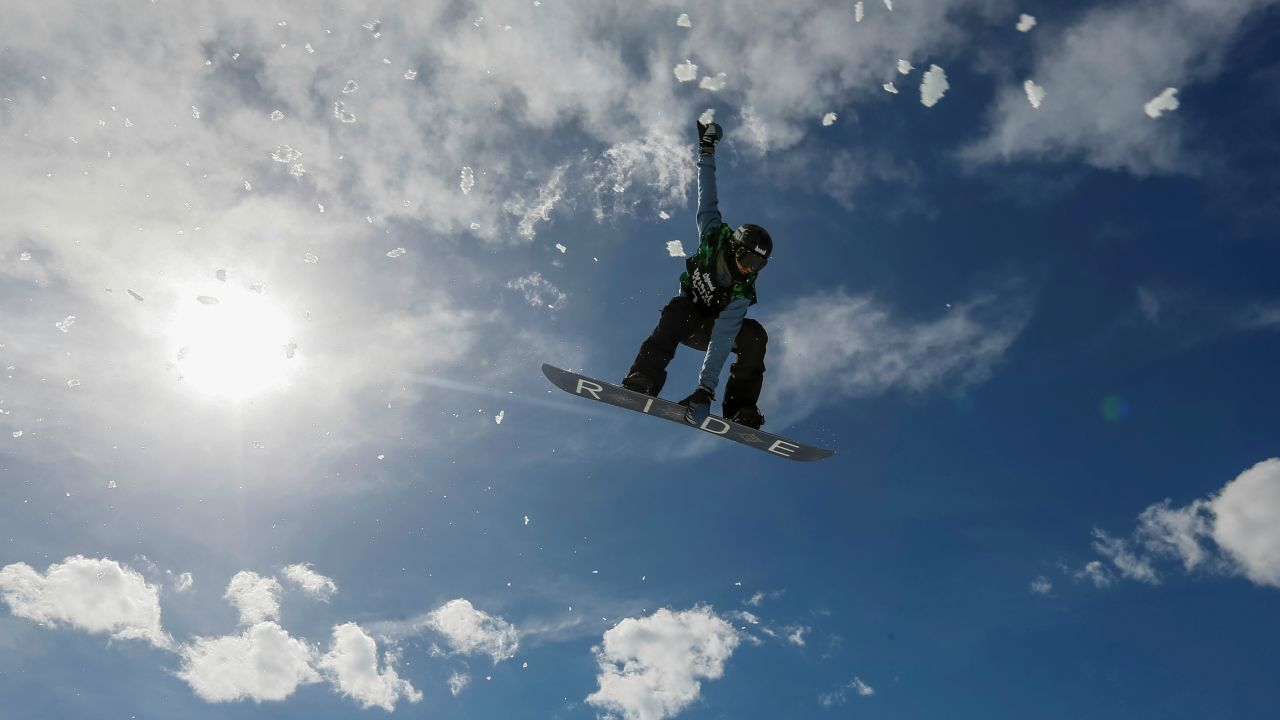 An athlete soars during Gorilla Winter Jungle snowboarding and freestyle skiing festival at Shymbulak ski resort outside Almaty, Kazakhstan. (REUTERS)