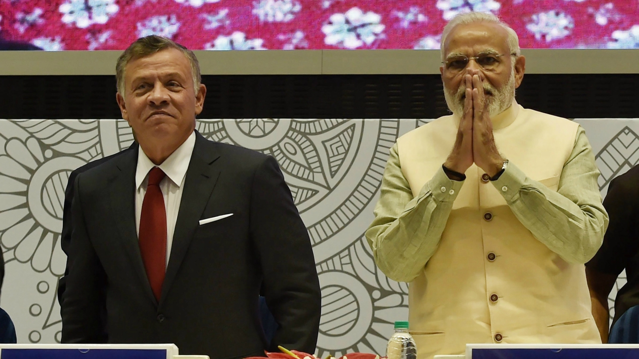 """Prime Minister Narendra Modi and Jordan's King Abdullah II Bin Al-Hussein during the conference on """"Islamic Heritage: Promoting Understanding and Moderation"""", in New Delhi. (PTI)"""