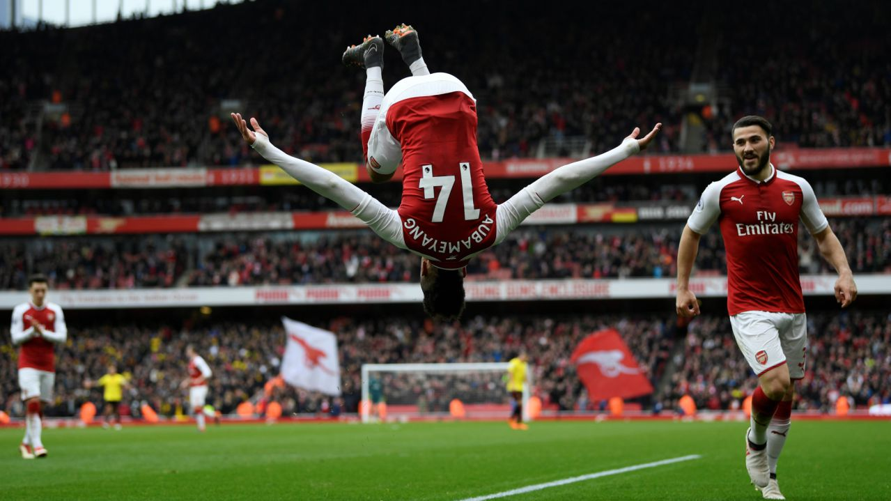 Premier League - Arsenal vs Watford, Emirates Stadium, London, Britain: Arsenal's Pierre-Emerick Aubameyang celebrates scoring their second goal. (REUTERS)