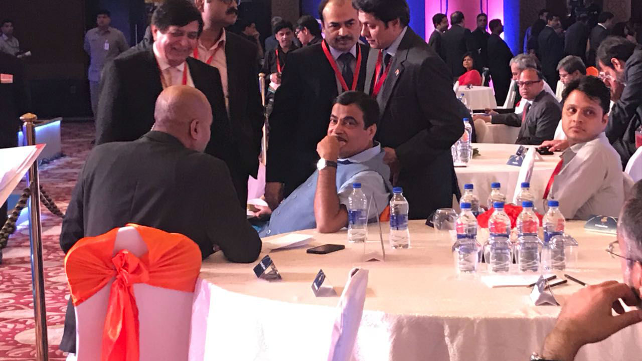 Minister of Road Transport and Highways of India Nitin Gadkari arrives for the Rising India Summit in New Delhi, on March 16. (Image: News18)