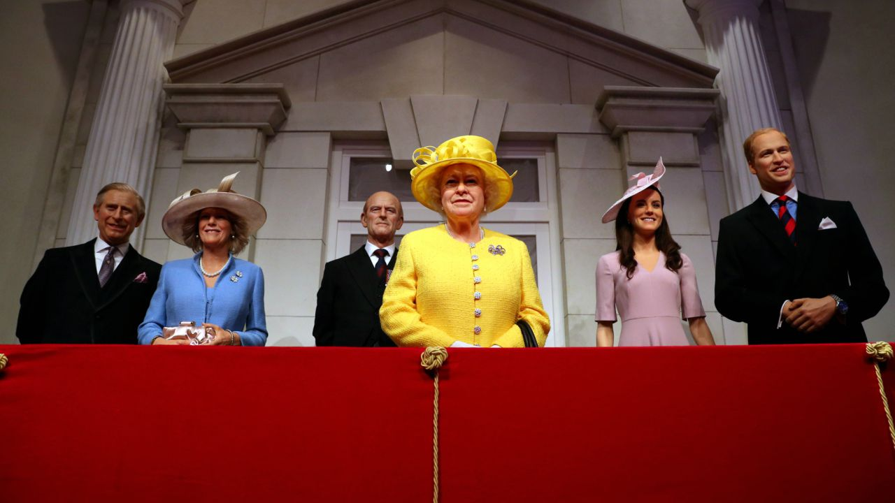 Madame Tussauds unveils its new royal balcony experience featuring wax figures of Britain's Prince Charles and his wife Camilla, Britain's Queen Elizabeth and Prince Philip and Britain's Prince William, Duke of Cambridge and Catherine, Duchess of Cambridge, in London, Britain. (REUTERS)