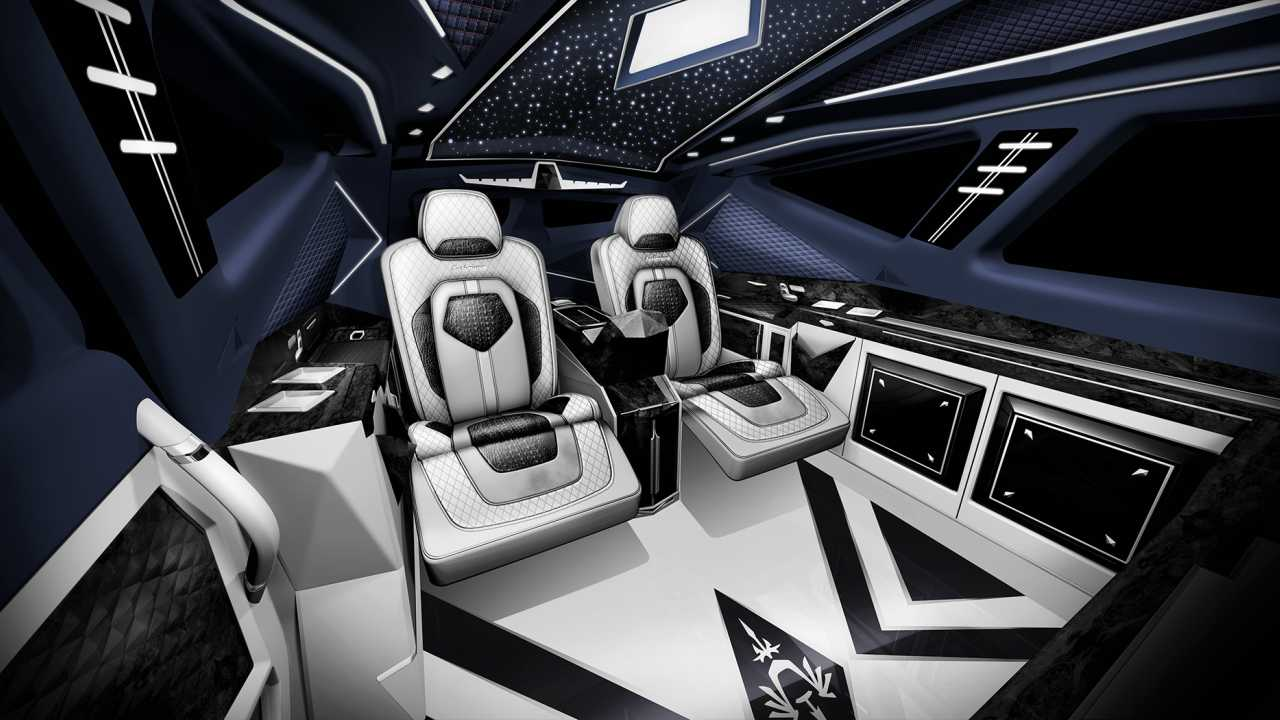 Interior of the car is at par with a Rolls-Royce and laced with a slew of systems for comfort and safety. These include 4K LCD TV, private safes, handrail screen display, satellite TV, satellite phone, PS4 entertainment system, phone projection system among other things.