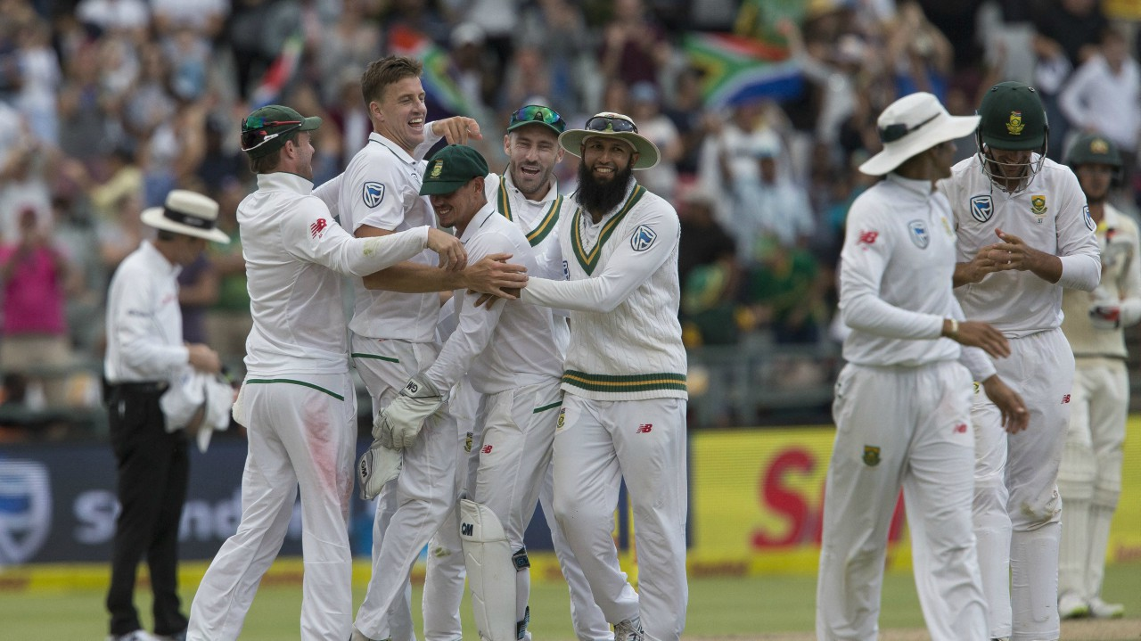 South Africa celebrates victory over Australia in the third cricket test between South Africa and Australia at Newlands Stadium, in Cape Town, South Africa. (AP/PTI)