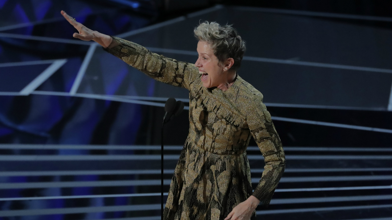 "Frances McDormand accepts the Best Actress Oscar for her performance in ""Three Billboards Outside Ebbing, Missouri"". (Reuters)"
