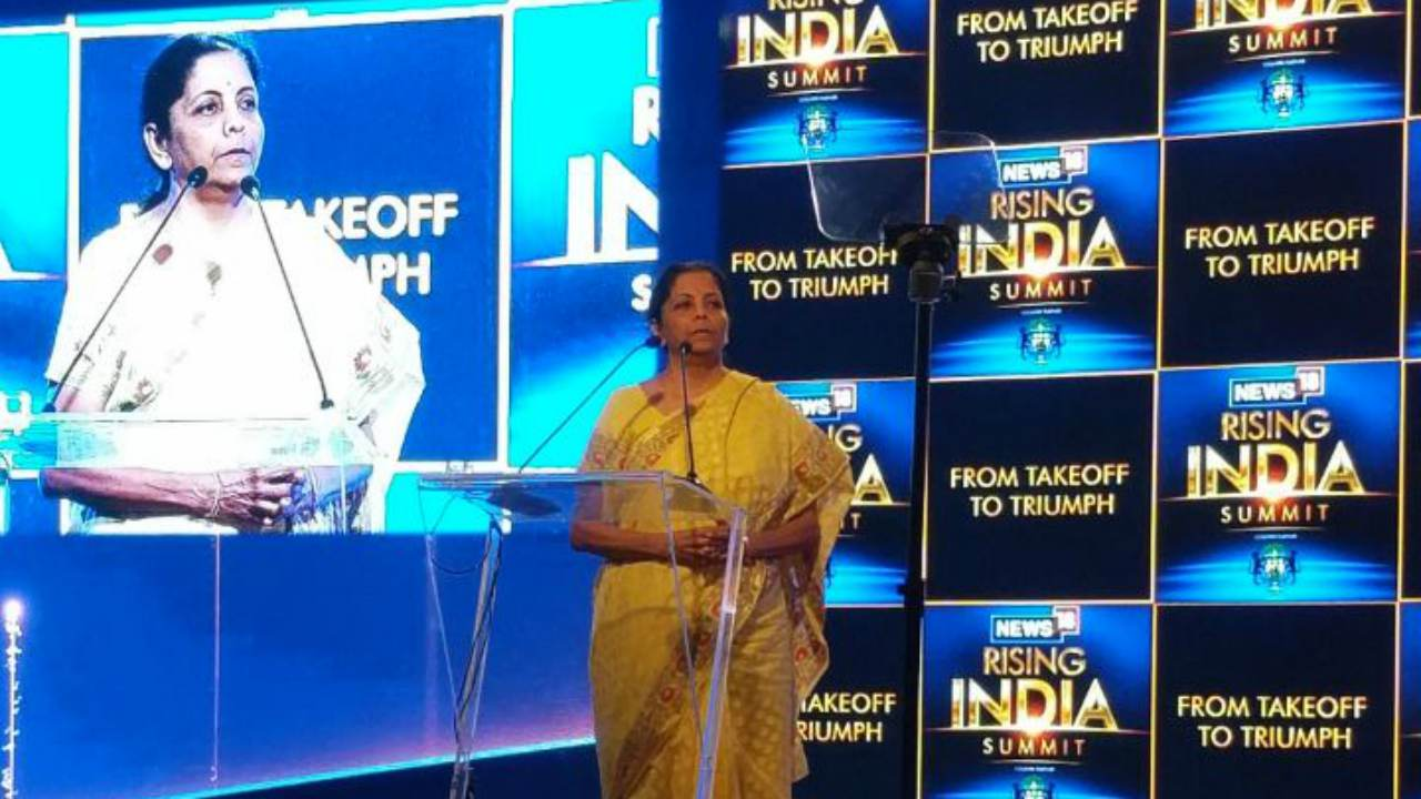 Defence Minister Nirmala Sitharaman during the Rising India Summit, in New Delhi. (Image: News18)