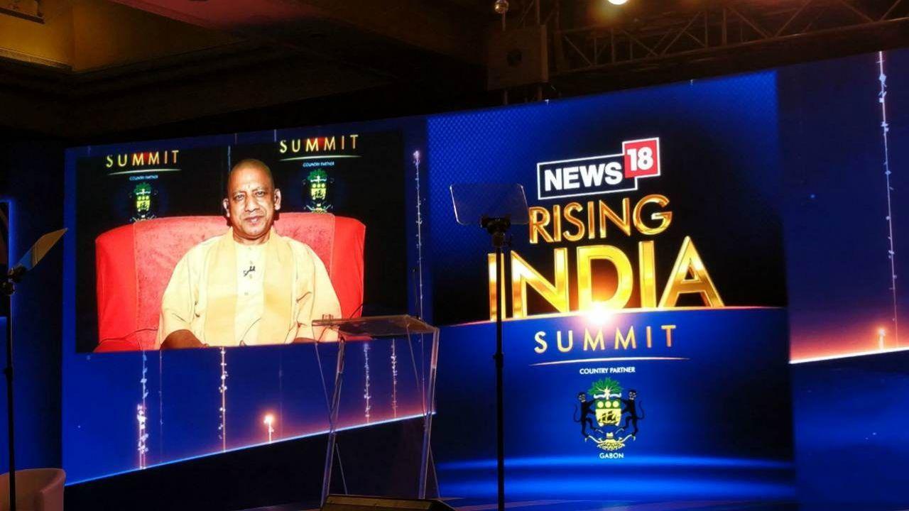 Uttar Pradesh chife minister Yogi Adityanath at the Rising India Summit. (Image: News18)