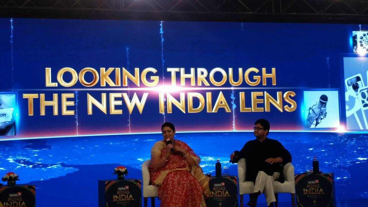 Union Information and Broadcasting Minister Smriti Irani took part in Rising India Summit 2018 in New Delhi. (Image: News18)
