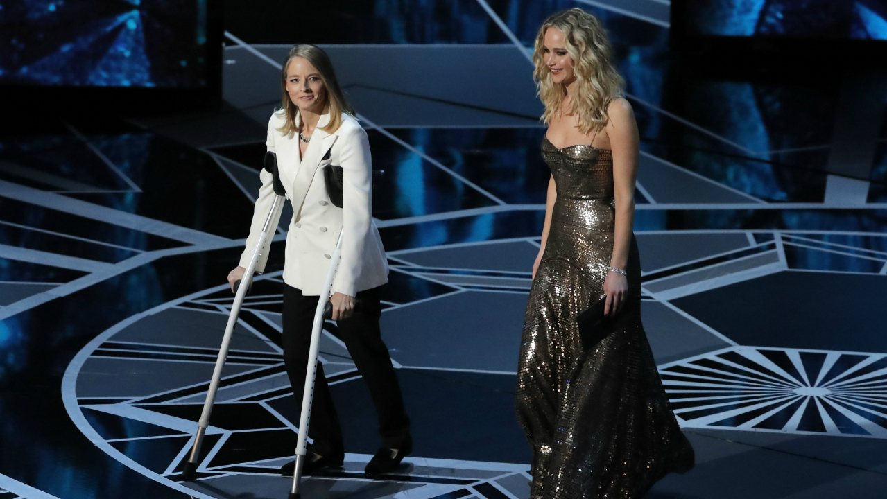 Jodie Foster and Jennifer Lawrence present the Best Actress Oscar. (Reuters)