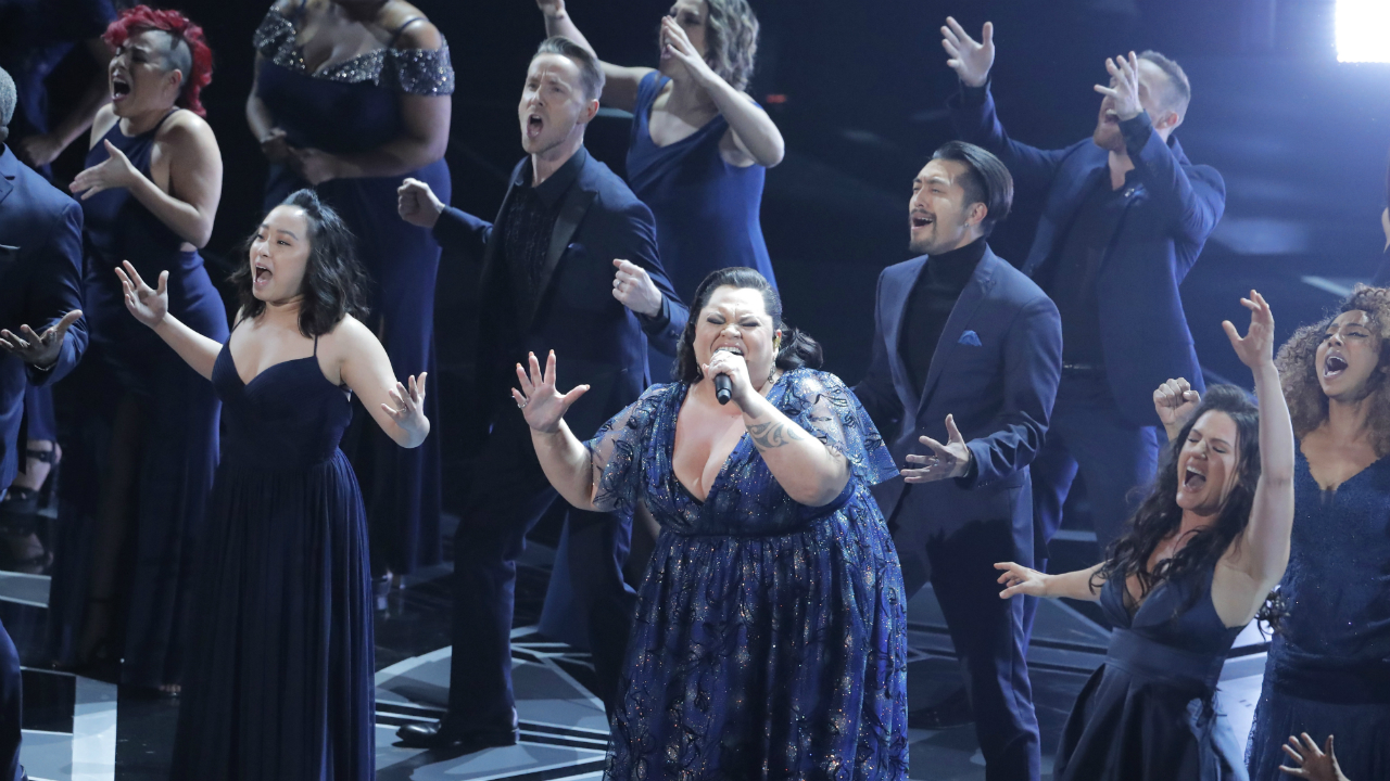 Keala Settle performs Best Original Song nominee This is Me from The Greatest Showman. (Reuters)