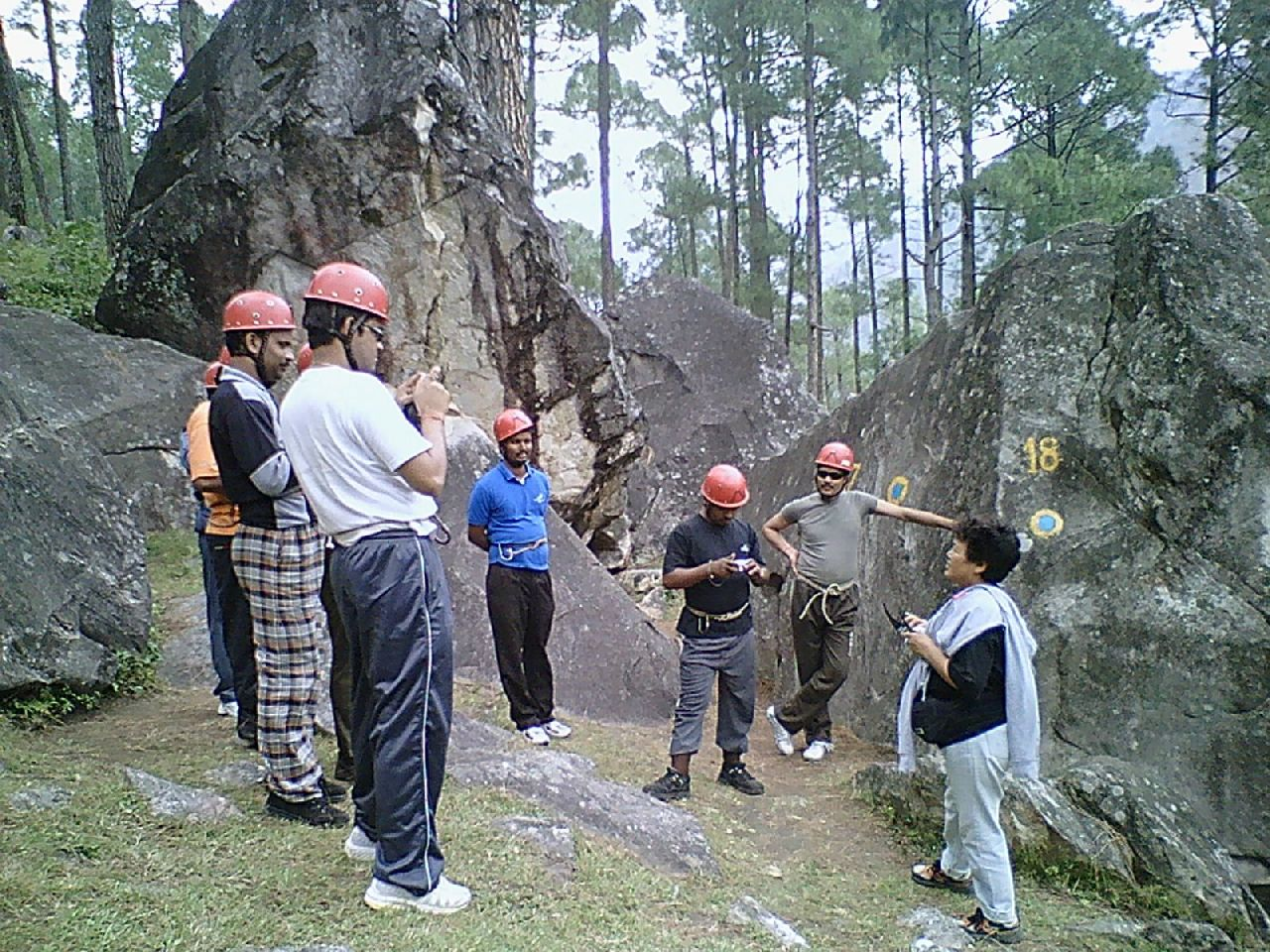 Bachendri Pal (extreme right) guiding participants at a climbing session