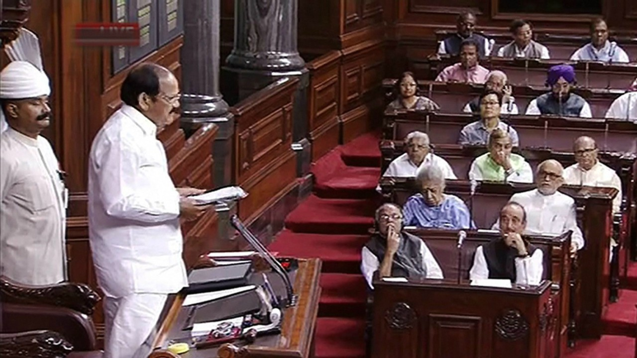 Rajya Sabha chairperson M Venkaiah Naidu speaks in the Rajya Sabha during the second phase of budget session, at the Parliament House in New Delhi. (PTI)