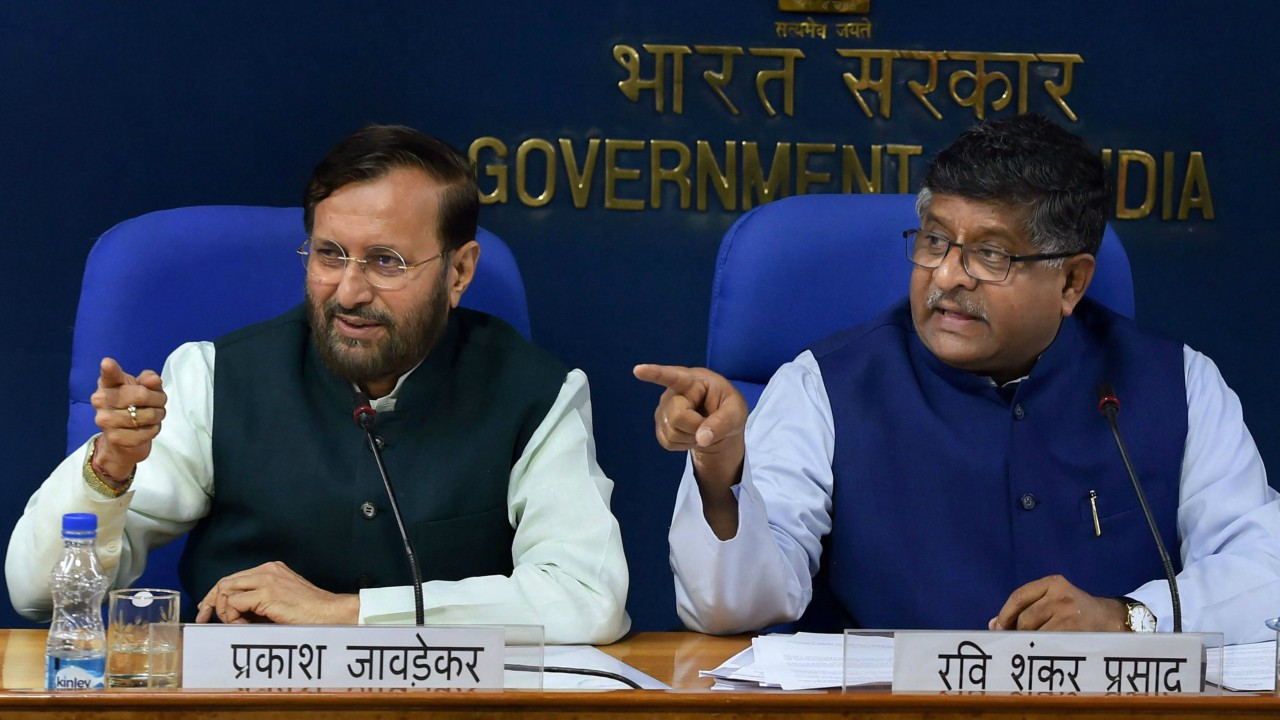 Union Law Minister Ravi Shankar Prasad and Union HRD Minister Prakash Javadekar during a press briefing on cabinet decisions, in New Delhi. (PTI)
