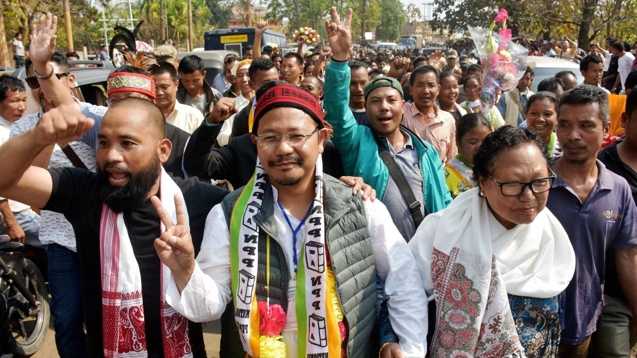 NPP candidate James Sangma displays victory sign after winning in Dadenggre constituency in the Meghalaya Assembly elections at Dadenggre, Meghalaya. (PTI)