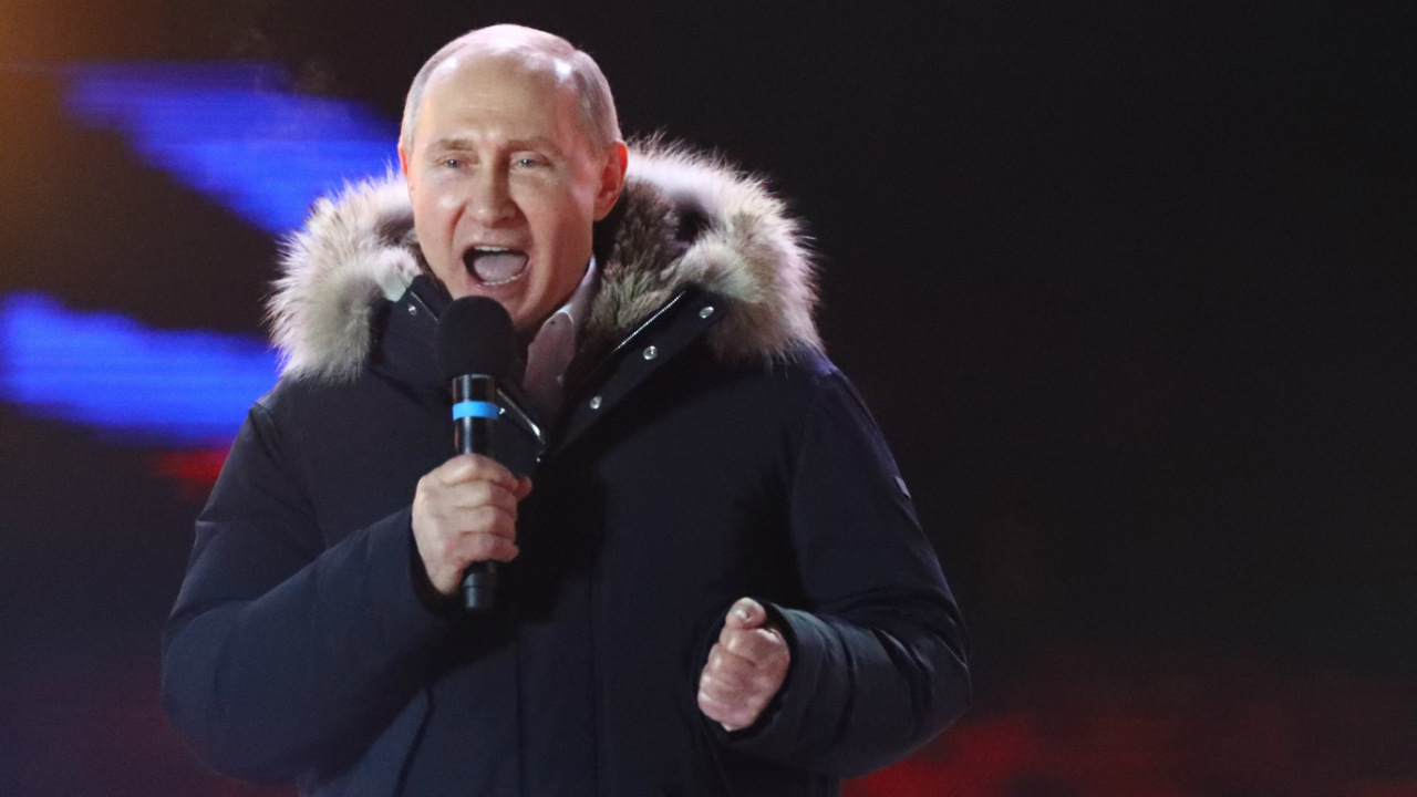 Russian President Vladimir Putin delivers a speech during a rally and concert marking the fourth anniversary of Russia's annexation of Crimea, in Moscow, Russia. (Reuters)