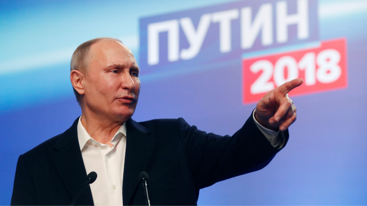 Russian President Vladimir Putin delivers a speech at his election headquarters in Moscow, Russia. (Reuters)
