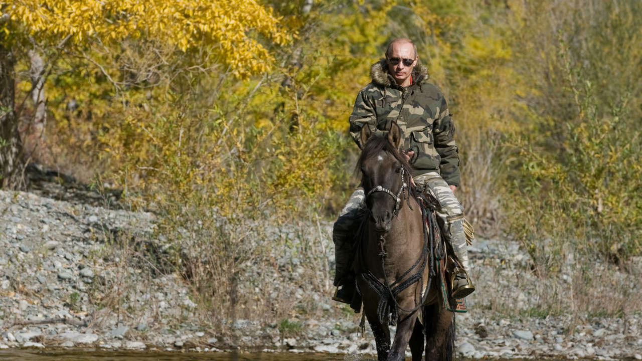 Russian Prime Minister Vladimir Putin rides a horse as he takes part in an expedition to Ubsunur Hollow Biosphere Preserve. (Reuters)