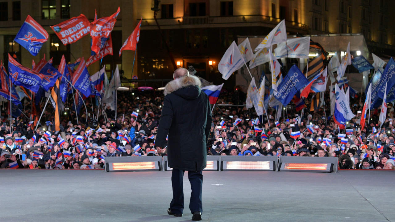 Russian President Vladimir Putin attends a rally and concert marking the fourth anniversary of Russia's annexation of the Crimea, in Moscow, Russia. (Reuters)