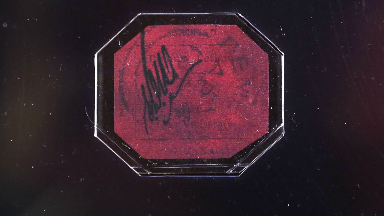 British Guiana 1856 1 Cent Magenta Stamp: USD 9.5 million | In what is the world's most valuable stamp, this British Guiana 1856 1 Cent Magenta was sold to shoe designer Stuart Weitzman in 2014. (Image: Reuters)