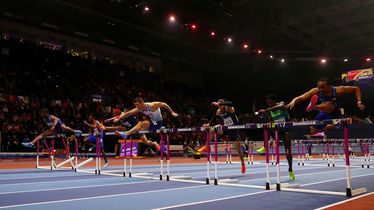 Andrew Pozzi of Britain wins the men's 60 metres hurdles as part of the IAAF World Indoor Championships 2018 at Arena Birmingham, Birmingham, Britain. (Reuters)