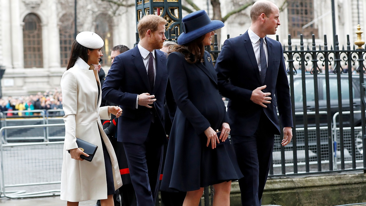 Britain's Prince Harry, his fiancée Meghan Markle, Prince William and Kate, the Duchess of Cambridge, arrive at the Commonwealth Service at Westminster Abbey in London. (Reuters)