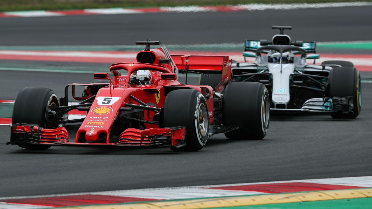 Sebastian Vettel of Ferrari and Valtteri Bottas of Mercedes during F1 Formua One Test Session. (Reuters)